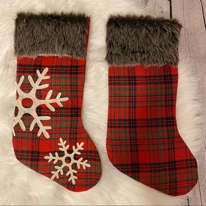 "Other - NWOT Faux Fur 18"" Plaid Christmas Stockings"